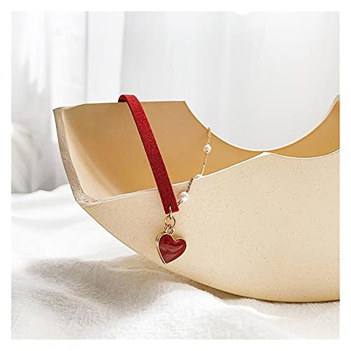 SFQRYP 2021 New Short Small Red Heart Simple Temperament Net Red Love Necklace Pearl Chain Necklace Red Rope Necklace Women Wedding Jewelry (Metal Color : Photo Color)
