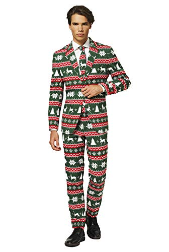 Opposuits Christmas Suits for Men in Different Prints – Festive Green – Ugly Xmas Sweater Costumes Include Jacket Pants & Tie - US 44