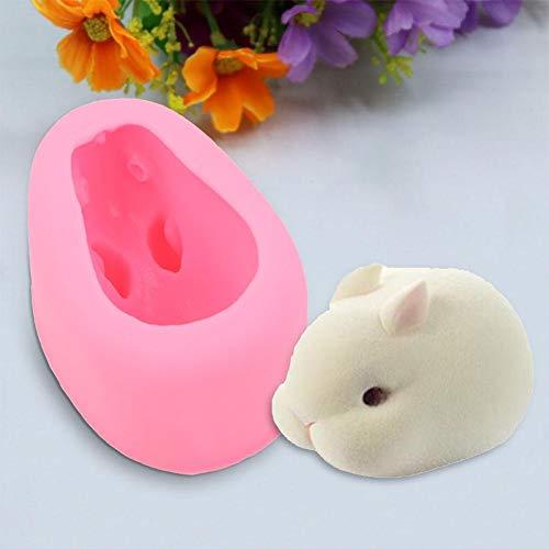 Ladieshow 3D Kaninchen Silikonform, Bunny Polymer Clay Form für DIY Schokoladenfondant Dekorieren Kuchenform(M)