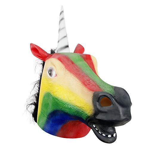 molezu Pferdemaske Tierkopfmaske Neuheit Deluxe Kostüm Latexmaske für Kostümparty Halloween (Bunt)