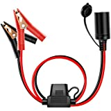 Nilight 10026W Cord Plug Socket Clamp 4.9FT / 1.5m 16 AWG Clip-On and Female Cigarette Lighter Adapter Car Battery Extension Charge Cable with 15A Fuse,2 Years Warranty