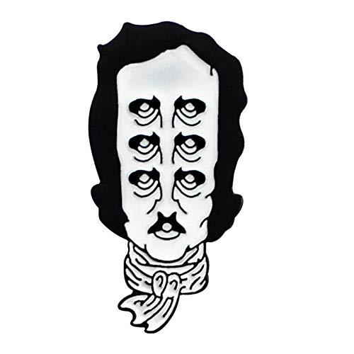 GMZQQ Delicate broche emaille reversspeld meerdere ogen oude man hoofd sjaal broche lederen jas badge literatuur liefhebber cadeau stijlvol en mooi broche is de moeite waard kopen