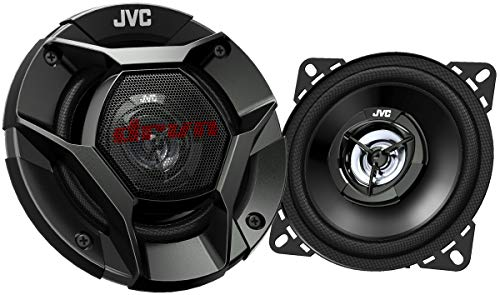 "JVC CS-DR421 DRVN Series 4"" 2-way 220 Watt Car Speakers (Coaxial) - Set of 2 (Black) with new shallow design"