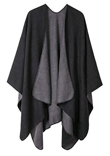 Shmily Girl Femme Cape Poncho Extra Large écharpe Châle Blanket Poncho Automne Hiver (One Size, Noir & Gris)