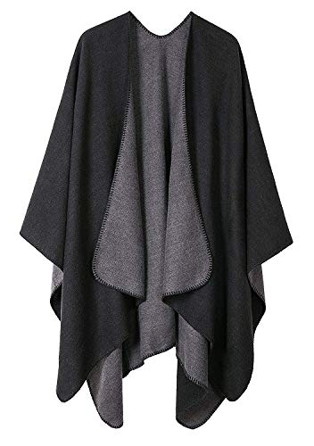 Shmily Girl Damen Poncho Habe Gestrickt Kaschmir Überdimensionalen Decke Kap-Schal (One Size, Schwarz & Grau)
