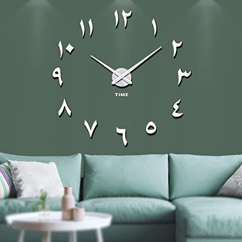 Vangold Arabische Moderne Mute DIY große Wanduhr 3D Aufkleber Home Office Decor Geschenk (Silber)