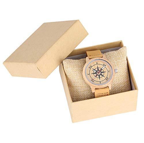 LOOIUEX Holzuhr Hellbraunes Lederband Holzuhren für Frauen Einzigartiges Kompassmuster Zifferblatt für Männer Leuchtende Zeiger relojes de Mujer, mit Box