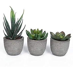 MengFeiNi 3 Pieces of Artificial Plants in pots, Mini Artificial Succulent Plants Series in False pots for Indoor/Outdoor/Living Room/Office (Green)