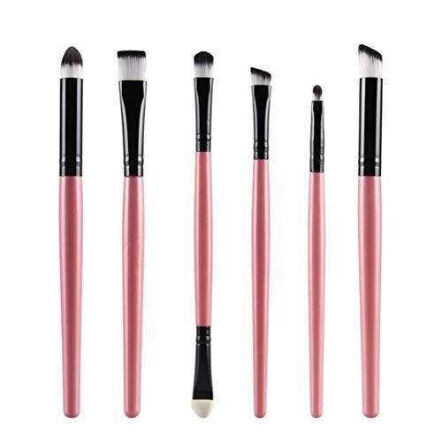 HYDT 6pcs Brosse de Maquillage de Rose Portable Poils en Nylon