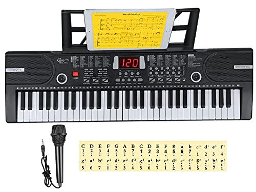 Elektronische 61 Tasten Home-Keyboards mit Begleitautomatik, Tragbarer Digital 61 Schlüssel Klaviertastatur Tastatur Piano mit Ständer & Mikrofon, Jungen und Mädchen Geschenk (Schwarz)