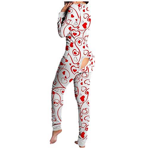 Jumpsuit Schlafanzug Damen Herren, Pyjama-Overall mit Po-Klappe, Damen-Pyjama, Einteiligen Oberteilen Hosen Mit Langen äRmeln Und Langen Nachtwäsche mit Geknöpfter Klappe für Erwachsene