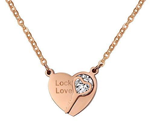 B.Z La Vie Łańcuszki z wisiorkiem w kształcie serca dla kobiet łańcuszki na szyję Lock Love klucz