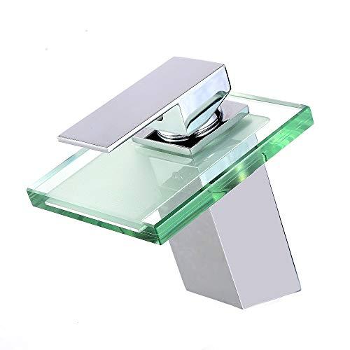 ZXC Wasserfall Waschbecken Bad Armatur, moderne Einhand Mischbatterie für den Waschtisch mit Glas-Auslauf und Beleuchtung
