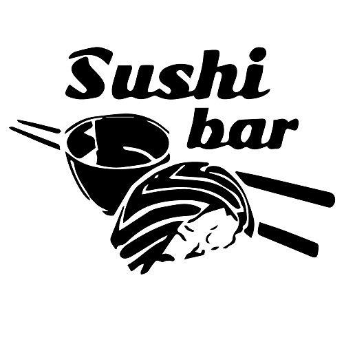 KDSMFA - Pegatinas de pared de vinilo para sushi, decoración artística para cocina, nevera, palillos, arroz, autoadhesivas, decoración del hogar, 81 x 57 cm
