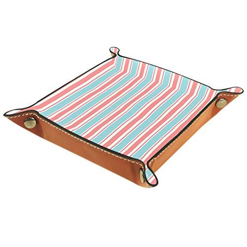 ZORE_FINE5 Bandejas cuadradas de cuero para joyas, bandeja de juegos de dados, caja de almacenamiento plegable de 11,5 cm/4,5 en patrón de rayas verticales, azul, rosa y blanco