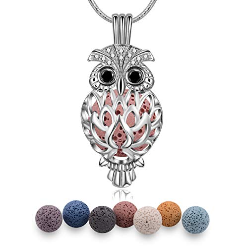 Eudora Eule Halskette Aromatherapie Kette Halsketten für Frauen Damen Anhänger Aroma Oel Diffuser Charme Schmuck Geschenk Natürlicher Lavastein Perlen Kette 7 PCS,24