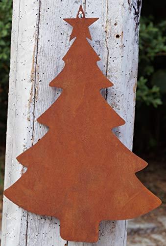 Rostalgie Edelrost Tanne zum Hängen groß H30x20cm Weihnachten Deko Garten Fensterschmuck