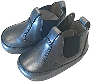 Old Soles Boy's and Girl's Bambini Local Rich Silver Soft Leather Slip On Bootie Boots Crib Walker Baby Shoes 19 M EU/3 M 6-9 Months [並行輸入品]