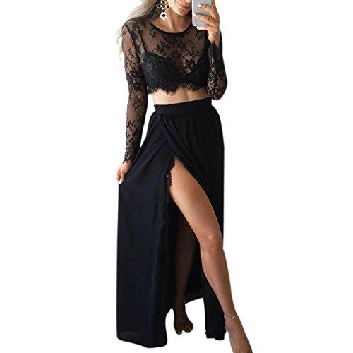 Ai.Moichien Damen Sexy Geerntet Zweiteiler Kleider, Häkeln Spitze Durchschauen Sommer Schaukel Eine Linie Tau Bein Teilen Party Cocktail Urlaub Kleid
