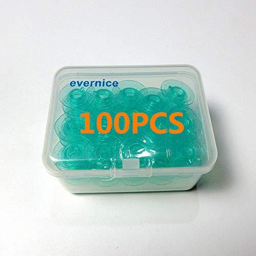 Boîte de 100 bobines vertes transparentes pour Husqvarna Viking S215, Topaz 25, Tribute 140C++