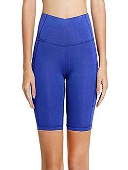 Short de yoga pour femme taille haute avec poche - Bleu - XL