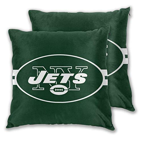 """NEL New-York J Football Team Throw Pillowcase Set of Zipper Double-Sided Printing Pillow Cases Home Decorative Pillow Covers Without Insert ( 18"""" X 18"""" )"""