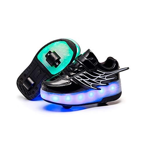 JESU Unisex Kinder LED Skateboard Schuhe, Aufladbare USB Rollschuhe, Blinken Skateboardschuhe Leuchtend Rollenschuhe Outdoorschuhe Gymnastik Mode Turnschuhe,Schwarz,35