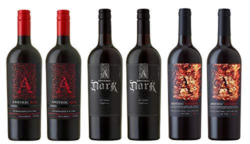 6x 0,75l - APOTHIC Wines - California - Rotwein - verschiedene Sorten - trocken bis halbtrocken (6x 0,75l - APOTHIC - 6er-MIX-PAKET)