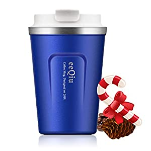 eeQiu Taza térmica Taza de café para Llevar - 13oz 100% a Prueba de Fugas, Taza de café, Acero Inoxidable de Doble Pared con Aislamiento, café para Llevar, Taza de Viaje de café y té (Azul