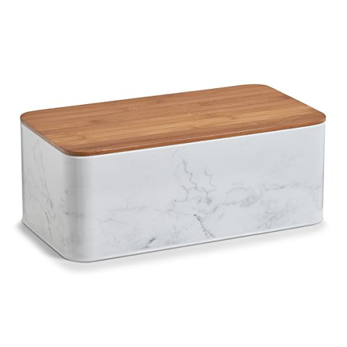 Zeller 19332 Marble Bread Bin withBamboo Lid Metal, White, 42.5 x 22.9 x 16.5 cm