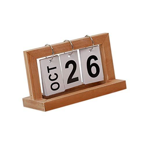 Calendario Madera Perpetuo Presentación Fecha Regalo Práctico para Amigos Familiares - Natural