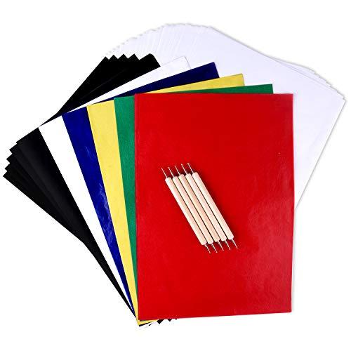TUPARKA 125 Blatt Bunte Kopierpapier und Pauspapier mit 5 PCS Embossing Stylus Stylus Werkzeuge, Carbon-Umdruckpapier für Tracing auf Holz, Stoff Tattoo Schablone kopieren Zubehör