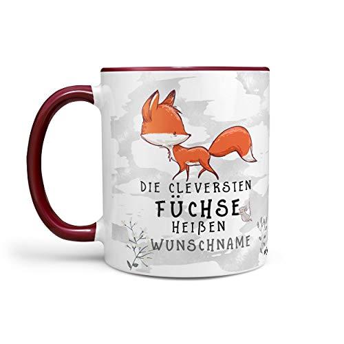 Sunnywall Fuchs-Tasse Kaffeebecher Wunsch-Tasse Geburtstags-Tasse Geschenk-Tasse schwarz inkl. gratis Geschenkkarte Der cleversten Füchse heißen Wunschname (rotbraun)