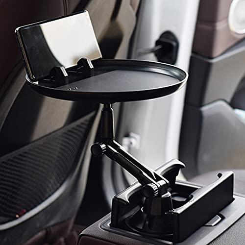 Bandeja de comida para el coche, organizador de alimentos, bandeja de comida para el coche, multifunción, con brazo giratorio de 360°, mesa ajustable para la mayoría de los coches