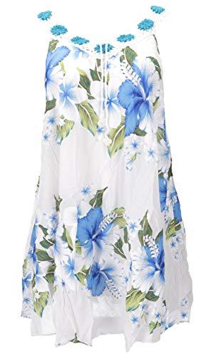 Guru-Shop, Plus Size Boho Mini-jurk, Wijde Zomerjurk, Gehaakte Jurk, Strandjurk, Damescrimpeljurk Oversized, Wit/blauw, Size:20, Korte Jurken