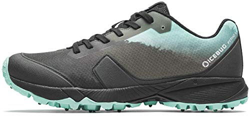 Icebug Womens Pytho5 BUGrip Trail Running Shoe with Carbide Studded Traction Sole, JadeMist/Black, 6