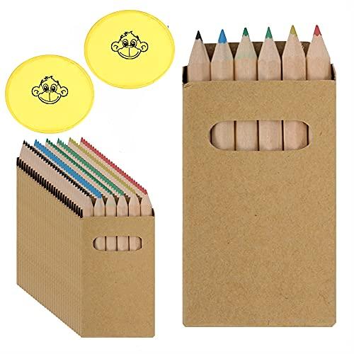 25 Sets mit 6 Buntstiften (ungiftig). Inklusive 2 Frisbees. Für Kindergeburtstagsgeschenke und kleine Kindergeschenke.