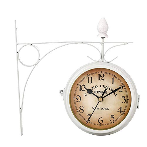 Wall clock, alarm clock Station Mount European Style Hanging Metal Garden Retro Decoration Vintage Round Battery Powered Wall Clock Outdoor Double Sided (Color : White)