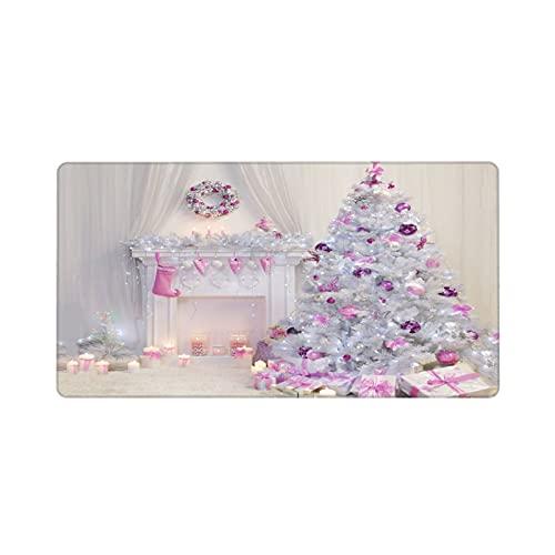 Alfombrilla de ratón Grande para Juegos,Árboles de Navidad Cubiertos por una Chimenea de Regalos de Bolas Rosas,Base de Goma Antideslizante,Adecuada para Jugadores,PC y portátil(80 x 30cm)