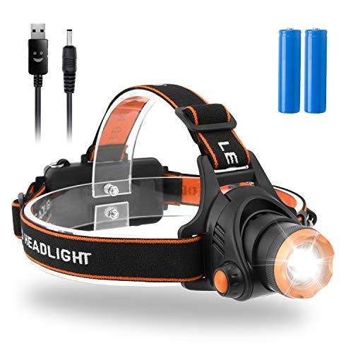 LED Stirnlampe,Beinhome Kopflampe USB Wiederaufladbarer Wasserdicht Scheinwerfer mit 2000 Lumens 90°Verstellbar 3 Helligkeiten für Laufen,Joggen,Camping,Wandern,Inkl.2 * 18650 Batterie