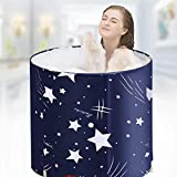 Foldable Bathtub Portable Soaking Bath Tub,Eco-Friendly Bathing Tub for Shower Stall,Thickening with Thermal Foam to Keep Temperature (Blue Sky)