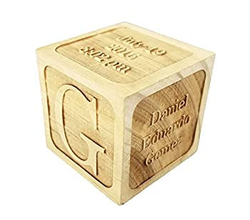 """Custom Engraved Big Wood Baby Birth Block  2.5""""  Personalized Gift for Your Baby - New Baby Gifts Newborn Gifts Birth Announcement"""