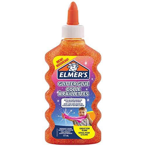 Elmer's PVA Glitter lijm | Oranje | 177 ml | Wasbaar | Geweldig voor het maken van slijm | 1 Count