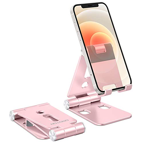 """Foldable Cell Phone Stand, OMOTON C4 Portable Aluminum Phone Holder, Adjustable Phone Dock Cradle Compatible with iPad (7.9-11""""), Samsung Galaxy, Ebook Reader and More, Rose Gold"""