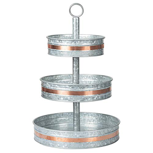 Ilyapa Galvanized Three Tier Serving Stand with Copper Trim - 3 Tiered Metal Tray Platter for Cake, Dessert, Appetizers & More