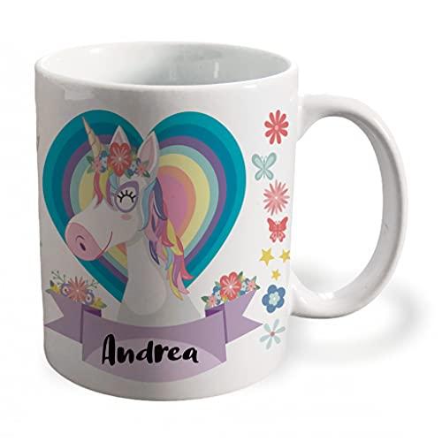 BEE INGENIOUS Taza unicornio personalizada con nombre o texto. Regalos para Niños y Niñas Personalizados.Tazas Personalizadas de Cerámica. Tazas unicornio para niños. Tazas frikis originales. (Morado)
