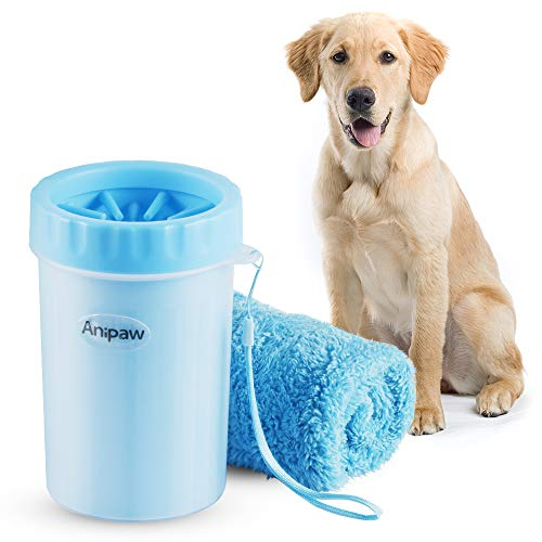 Dog Paw Cleaner, Anipaw 2-in-1 Silicone Dog Paw Washer Cup with Towel, Portable Pet Cleaning Brush Feet Cleaner for Dog Cat Grooming with Muddy Paws
