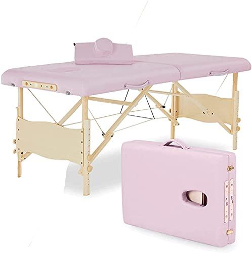 """BUSUANZI Table Massage Pliante 72.4""""Long de 28"""" de Large de 28""""Massage Portable de Large avec Table de Carreaux Table de boîtier haïtre Lit de Salon réglable (Couleur: Rose)"""