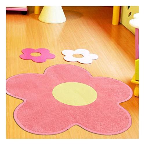 Tapis Enfant 75x75 cm Forme Originale Ultra Doux Fleur 2 Rose Chambre adapté au Chauffage par Le Sol