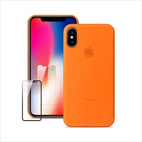 Funda iPhone X,Ultra Delgada y Minimalista y ligera ,Funda iPhone X Ultra Delgada, iPhone X Funda delgada con pantalla de cristal templado gratis Protector [NO LOGO en la carcasa del móvil]